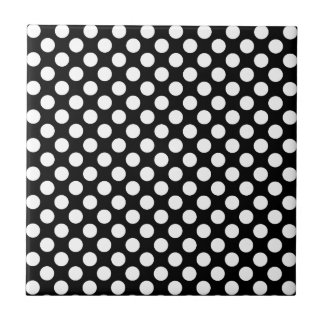 White Polka Dots on Black (Large) Ceramic Tile