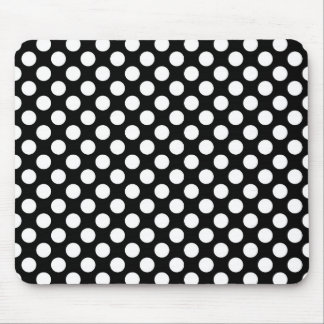 White Polka Dots on Black (Large) Mouse Pad