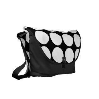 White Polka Dots on Black Messenger Bag