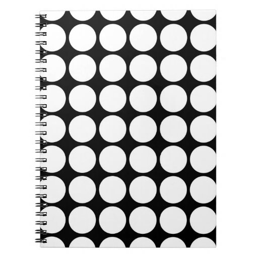 White Polka Dots on Black Note Book