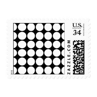 White Polka Dots on Black Postage