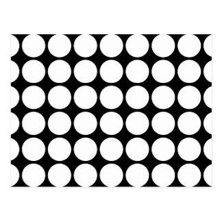 White Polka Dots on Black Postcard