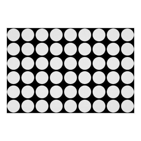 White Polka Dots on Black Poster