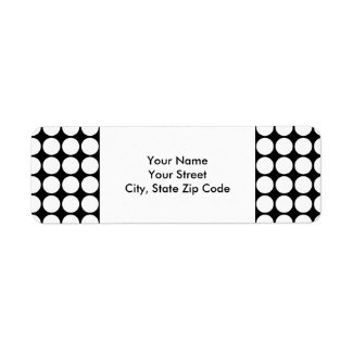 White Polka Dots on Black return address label