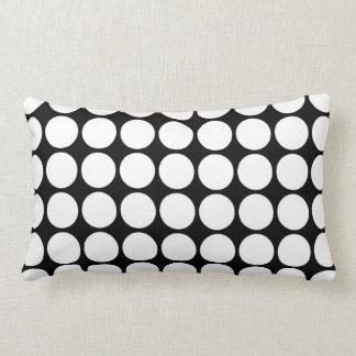 White Polka Dots on Black Throw Pillow