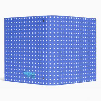 White Polka-dots on Blue Background Binder