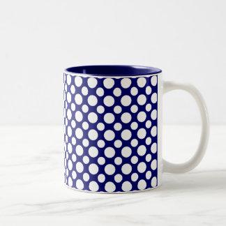 White Polka Dots on Blue Coffee Mug