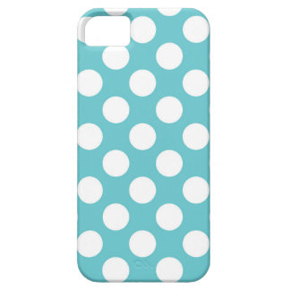 White Polka Dots on Blue iPhone SE/5/5s Case