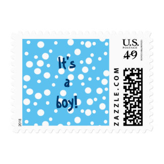 White Polka dots on Blue Its a Boy Stamps