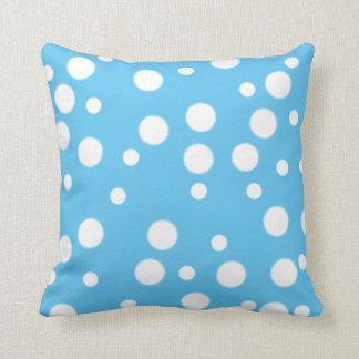 White Polka Dots on Blue Reversible Pillows