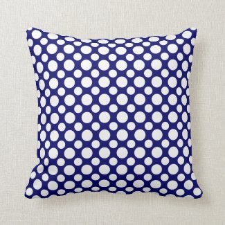 White Polka Dots on Blue Throw Pillow
