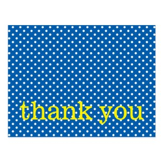 White Polka Dots on Blue With Yellow Thank You Postcard
