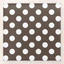 White polka dots on brown glass coaster
