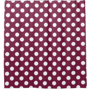 White Polka Dots On Burgundy Shower Curtain