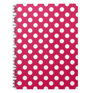 White polka dots on cerise notebook