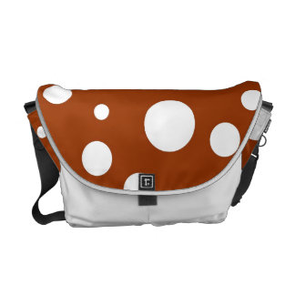 White Polka Dots on Chocolate Brown Courier Bags