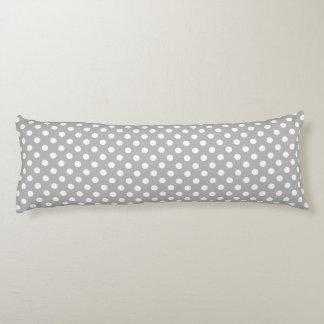 White Polka Dots on Chrome Grey Background Body Pillow