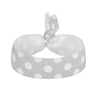 White Polka Dots on Chrome Grey Background Elastic Hair Tie