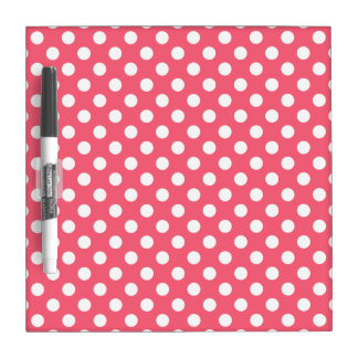 White polka dots on coral Dry-Erase board