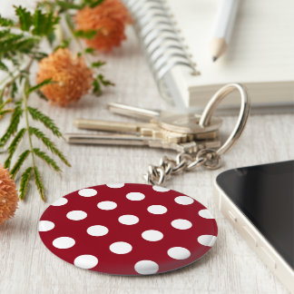 White Polka Dots on Crimson Red Basic Round Button Keychain