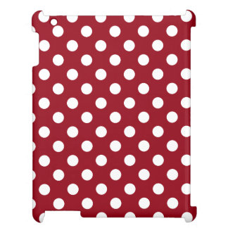 White Polka Dots on Crimson Red iPad Cases