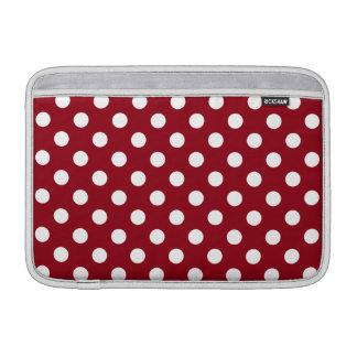 White Polka Dots on Crimson Red MacBook Sleeves