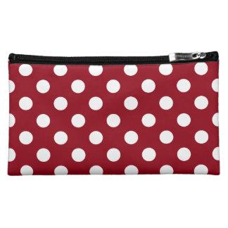 White Polka Dots on Crimson Red Makeup Bag