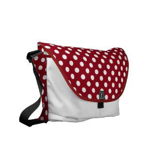 White Polka Dots on Crimson Red Messenger Bags