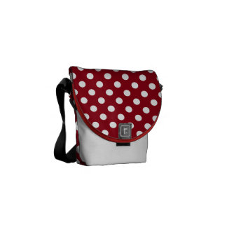 White Polka Dots on Crimson Red Courier Bag