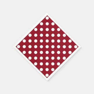 White Polka Dots on Crimson Red Napkin