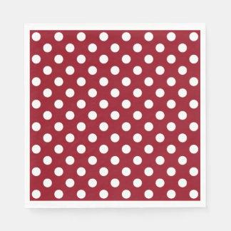 White Polka Dots on Crimson Red Paper Napkin