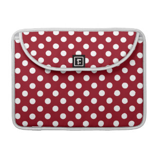 White Polka Dots on Crimson Red Sleeve For MacBook Pro