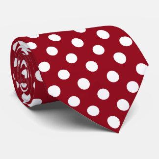 White Polka Dots on Crimson Red Tie