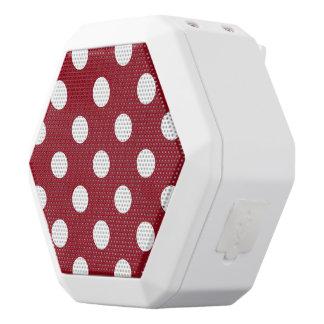 White Polka Dots on Crimson Red White Bluetooth Speaker