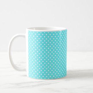 White polka dots on cyan aqua background coffee mug