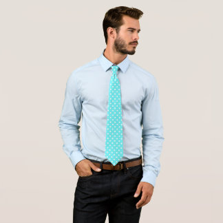White polka dots on cyan aqua background neck tie