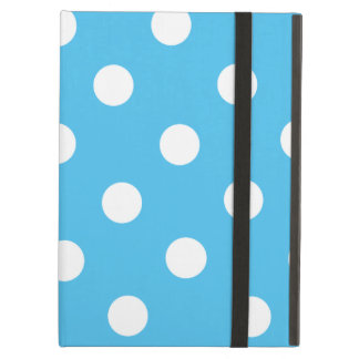 White Polka Dots on Cyan Blue Cover For iPad Air