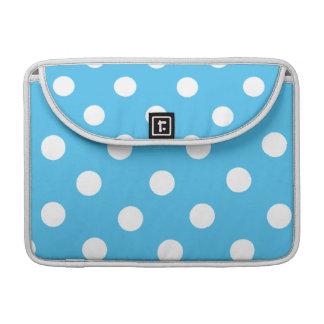White Polka Dots on Cyan Blue Sleeve For MacBooks
