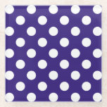 "White polka dots on dark blue glass coaster<br><div class=""desc"">White polka dots on dark blue</div>"