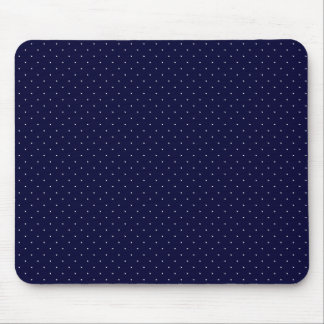 White Polka Dots on Dark Blue Mouse Pad