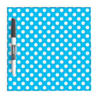 White polka dots on electric blue dry erase board