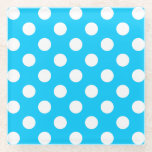 "White polka dots on electric blue glass coaster<br><div class=""desc"">White polka dots on electric blue</div>"