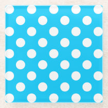 White polka dots on electric blue glass coaster