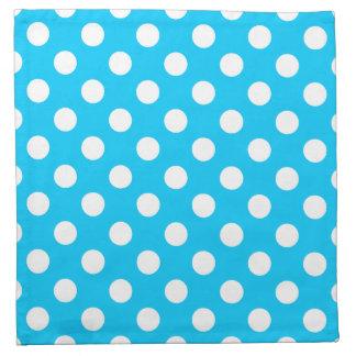 White Polka Dots On Electric Blue Napkin