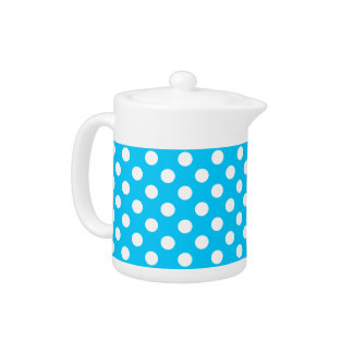 White Polka Dots On Electric Blue Teapot