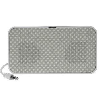 White polka dots on gray background laptop speakers