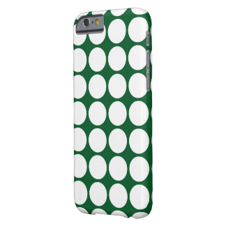 White Polka Dots on Green Barely There iPhone 6 Case