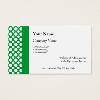 White Polka Dots on Green Business Cards