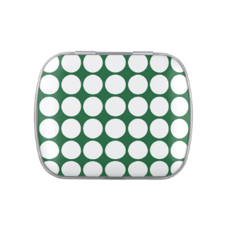 White Polka Dots on Green Candy Tin