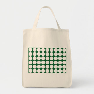 White Polka Dots on Green Canvas Bag